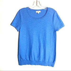 Loft Blue Short Sleeve Sweater Size M